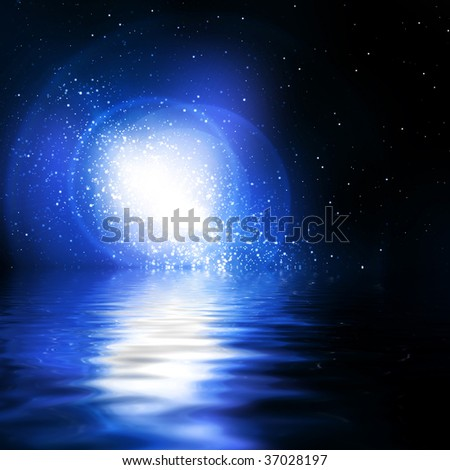 milky way in space on a dark background - stock photo