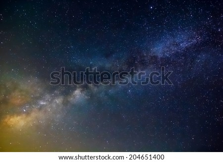 milky way night scene - stock photo