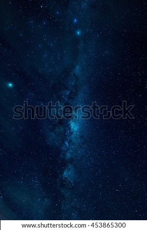 Milky way on a night sky, Long exposure photograph, at Australia