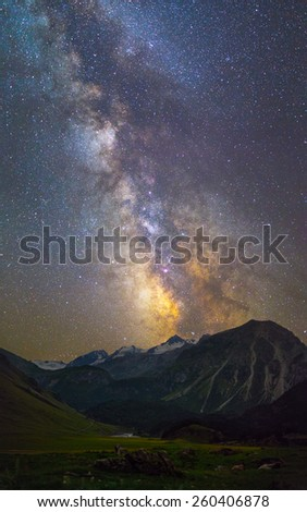 Milky Way over mountains - stock photo