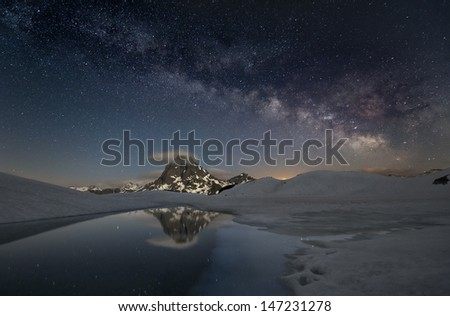 milky way over the mountains of spain - stock photo