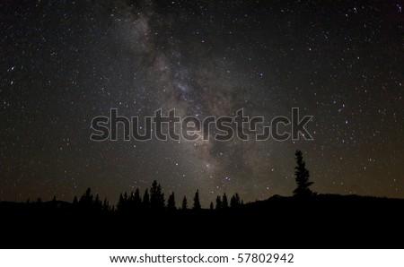 Milky Way over Tuolumne Meadows - stock photo