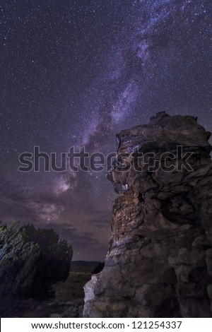 Milky Way rises over a hoodoo in Oklahoma, USA