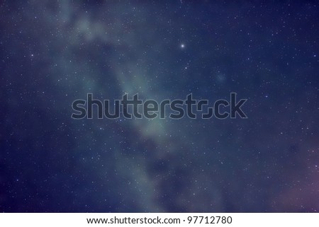 Milky Way Space: photo represents space astronomy background with Milky way as a backdrop and stars as a foreground.