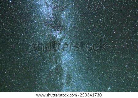 Milky way stars at night, close up - stock photo