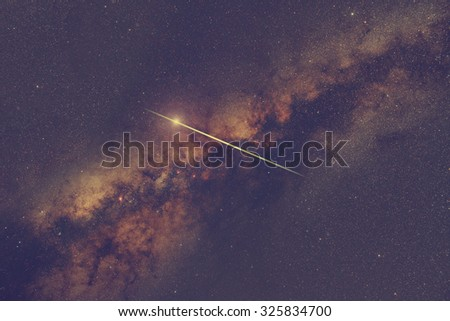 Milky way stars with meteor shower. My astronomy work. No elements of NASA or other third party. - stock photo