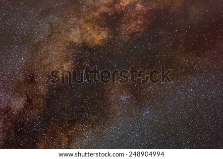 milky way through a night sky scene - stock photo