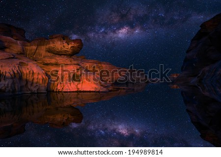 Milkyway over rock field ,grand canyon in Thailand - stock photo