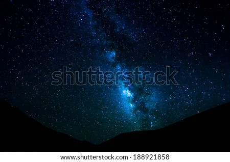 MilkyWay rises over mountains - stock photo