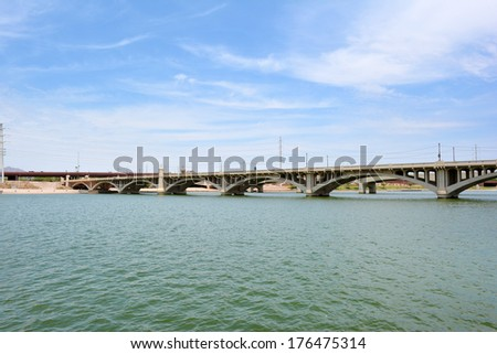 Mill Avenue Bridge over Tempe Town Lake in Tempe, Arizona USA - stock photo