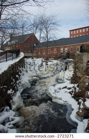 Mill building and water fall
