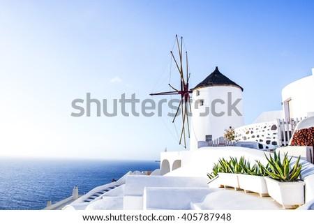 Mill in Oia, Santorini, Greece - stock photo