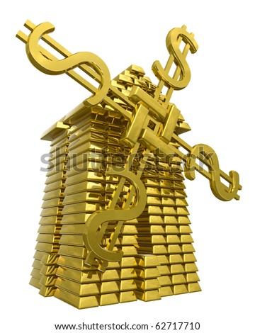 Mill of gold ingots. Symbol of success.