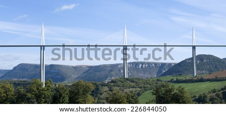 MILLAU, FRANCE - OCTOBER 23, 2014: Millau Viaduct designed by the French structural engineer Michel Virlogeux and British architect Norman Foster, it is the tallest bridge in the world.