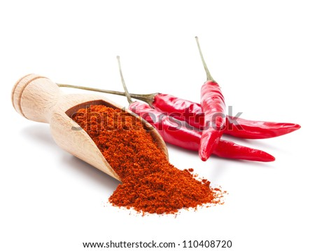 milled red chili pepper isolated on white background - stock photo