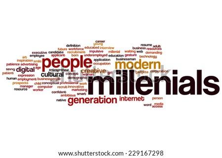 Millenials word cloud concept - stock photo