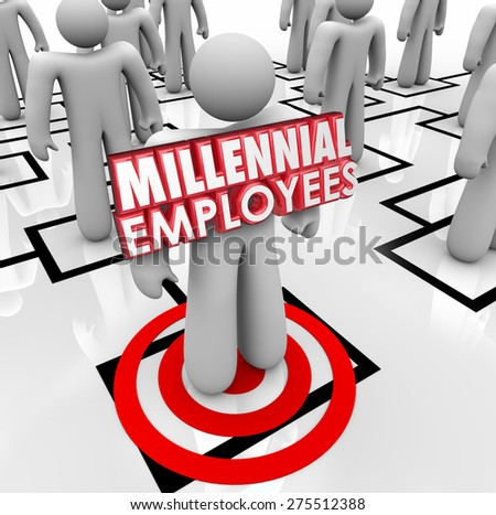 Millennial Employees words on a worker or staff member on an organizational chart to illustrate finding and hiring young people - stock photo