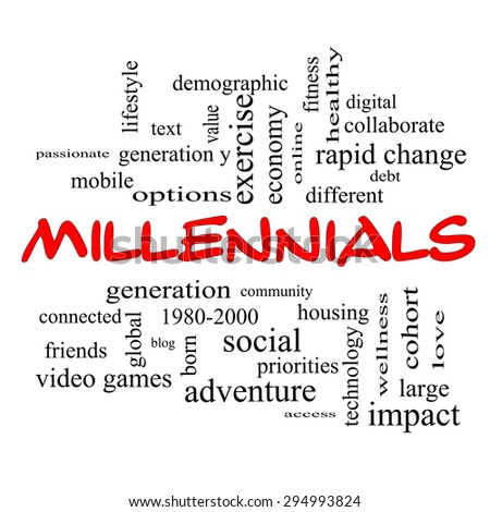 Millennials  Word Cloud Concept in red caps with great terms such as generation, health, fitness, technology and more.