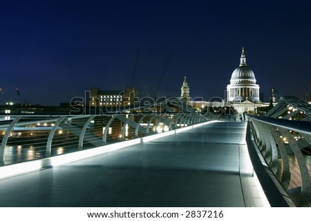 Millennium Bridge and St Paul cathedral - stock photo