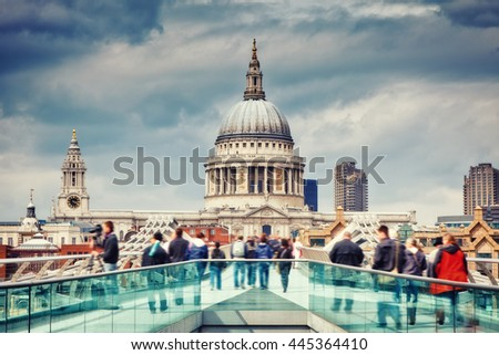 Millennium bridge and st. Paul cathedral in London, UK