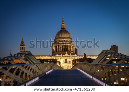 Millennium Bridge and St .Paul's Cathedral at night just before dawn, London, England, United Kingdom, Europe