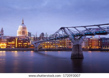 Millennium bridge and St. Paul's cathedral, Church at night, London, England, UK