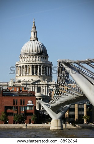 Millennium Bridge and St. Pauls Cathedral, London