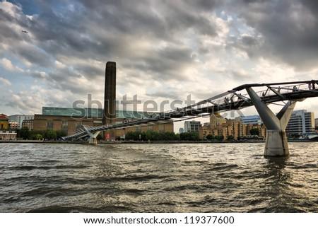 Millennium Bridge and Tate Modern - London - stock photo
