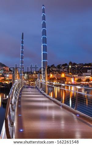 Millennium Bridge at dusk Torquay Devon England UK Europe - stock photo