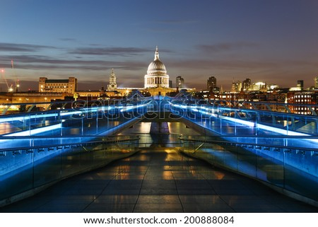 Millennium Bridge leading to Saint Paul's Cathedral in central London, UK