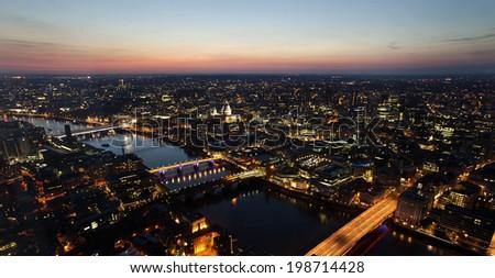 Millennium Bridge, London Eye and St Paul from The Shard, London, United Kingdom, UK, Europe - stock photo