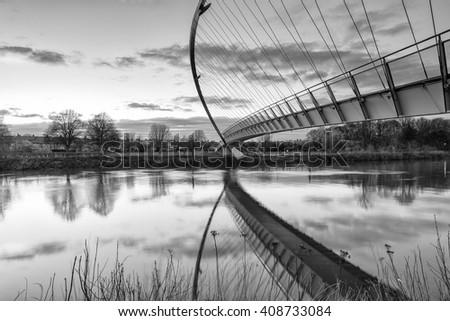 Millennium Bridge, York over the River Ouse - stock photo
