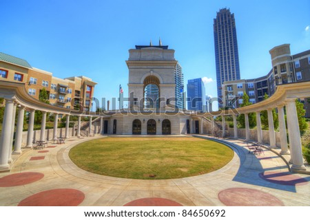 Millennium Gate triumphal arch at Atlantic Station in Midtown Atlanta, Georgia. - stock photo