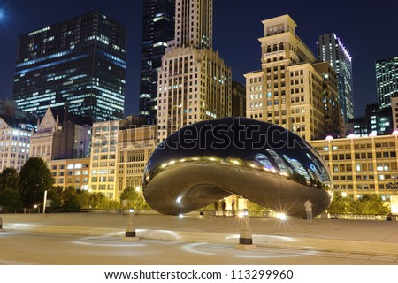 Millennium Park, Chicago. Cloud Gate, also known as the Bean is one of the parks major attractions/ - stock photo