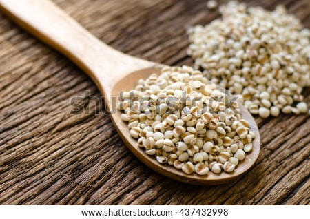 millet seed on wood spoon on old wood background for food or cereal web banner design