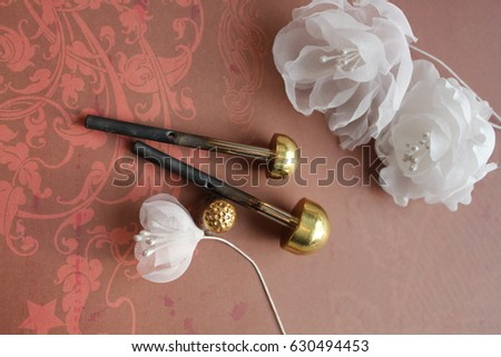 Millinery hat making tools silk flowers stock photo royalty free millinery and hat making tools silk flowers and thimble mightylinksfo
