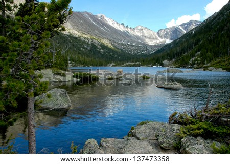 Mills Lake at Rocky Mountain National Park, Colorado - stock photo