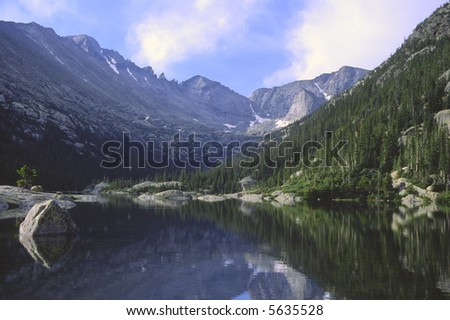 Mills Lake in Glacier Gorge, Rocky Mountain National Park - stock photo