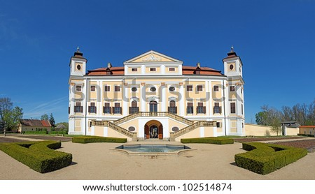 Milotice Castle, Czech Republic - State Milotice called pearl of South Moravia, is a uniquely preserved complex of baroque buildings and garden architecture - stock photo