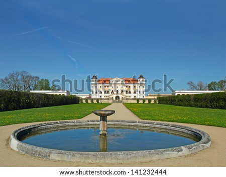 Milotice Castle, Czech Republic - State Milotice called pearl of South Moravia, is a uniquely preserved complex of baroque buildings and garden architecture. - stock photo