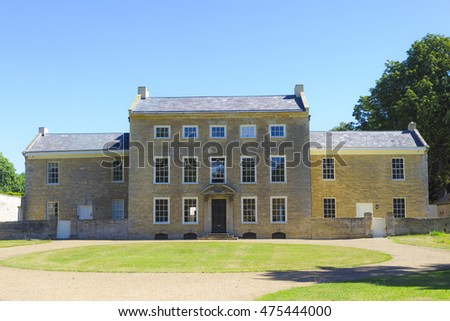 MILTON KEYNES, ENGLAND - AUGUST 26, 2016: Summer view at Great Linford manor complex under blue sky, Buckinghamshire