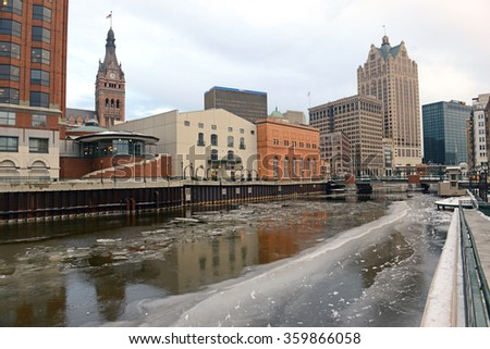 MILWAUKEE - CIRCA JANUARY 2016. While being the largest city in Wisconsin, it is also the home of many large firms such as several large Beer Breweries, a top global beer producing city. - stock photo