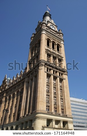 Milwaukee City Hall Tower Finished in 1895. Milwaukee City Hall Was Designed by Architect Henry C. Koch. Milwaukee, Wisconsin, United States. Architecture Photo Collection. - stock photo