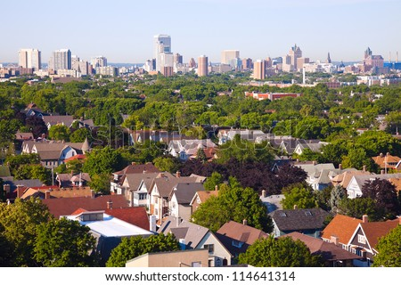 Milwaukee - city panorama seen from the north side - stock photo