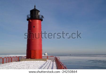 Milwaukee Pierhead Lighthouse, Milwaukee, Wisconsin, USA - stock photo