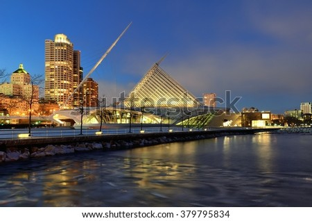 MILWAUKEE, WI - FEBRUARY 12 2016: Milwaukee Art Museum and Downtown Skyline at Night - stock photo