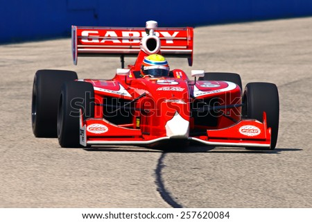 Milwaukee Wisconsin, USA - August 15, 2014: Indy Lights Series practice session Friday. 5 Gabby Chaves - Colombia, Belardi Auto Racing - stock photo