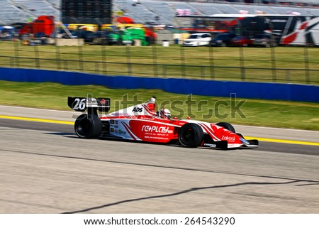 Milwaukee Wisconsin, USA - August 16, 2014: Indycar Indy Lights series practice and qualifying, Milwaukee Mile. 26 Zach Veach - United States, Andretti Autosport