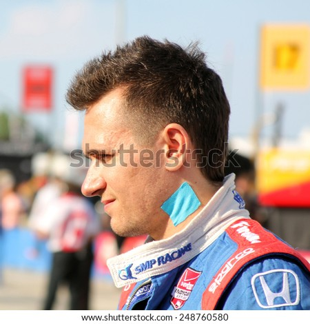 Milwaukee Wisconsin, USA - August 16, 2014: Verizon Indycar Series Indyfest ABC 250 Practice and Qualifying sessions on track action. Mikhail Aleshin (R) Moscow, Russia SMP Racing