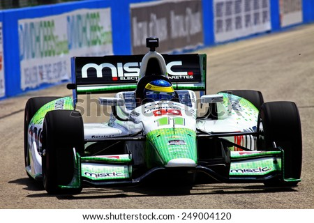 Milwaukee Wisconsin, USA - August 16, 2014: Verizon Indycar Series Indyfest ABC 250 Practice and Qualifying sessions on track action. Sebastien Bourdais Le Mans, France Mistic KVSH Racing - stock photo